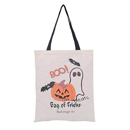 Elevin(TM)2017 Halloween Candy Bag Canvas Tote Gift Bag Shopping Bag Handbag Storage Candy Trick or Treat Bag Travel Bag (E, 36cm×44cm) ()