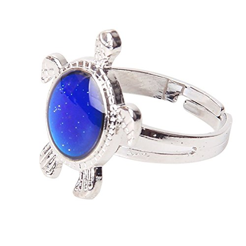 Beautiful Bead Adorable Turtle Attached Crystal Stone Mood Ring with Ajustable Inner Diameter for the Unisex