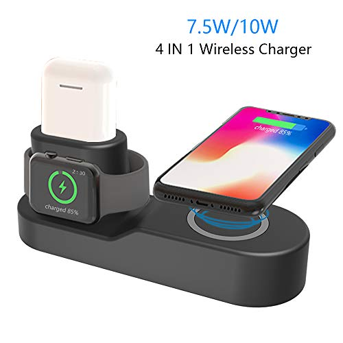YUUDIS 4 in 1 Wireless Charger Stand Dock with USB Adapter Replacement for iPhone/AirPods/iPad/Apple Watch Series 3/2/1,(7.5W/10W) Fast Wireless Charging Station,Compatible with iPhone X/8/8 Plus