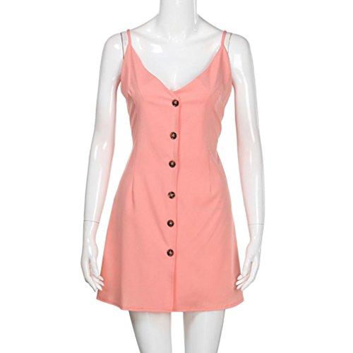 Pour Femme ~ Bowknot Sexy De Ourlet Rose Wolfleague XL S Robe Col Sans Manches De De Fronde Volant Dames Robe T V Vacances Plage Mini FTe Dress SwU5q