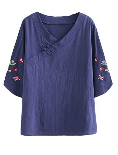 Mordenmiss Women's Frog Button Blouse Embroidered Sleeve V Neck Top M Navy ()