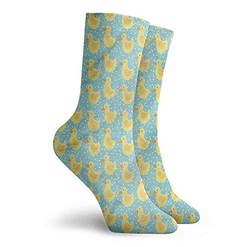 Men Multicolored Pattern Duckies Polka Dots Childish Cartoon Work Socks
