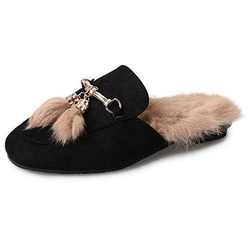 Btrada Femmes Hiver Floue Penoy Pointy Maison Sabots Pantoufles Confortable Fourrure Doublure Intérieur Pantoufles En Plein Air Chaussures Noir