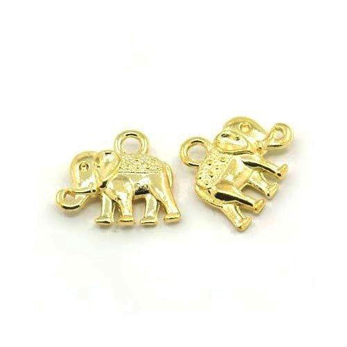 (Packet of 10 x Gold Tibetan 14mm Charms Pendants (Elephant) - (ZX07960) - Charming Beads)