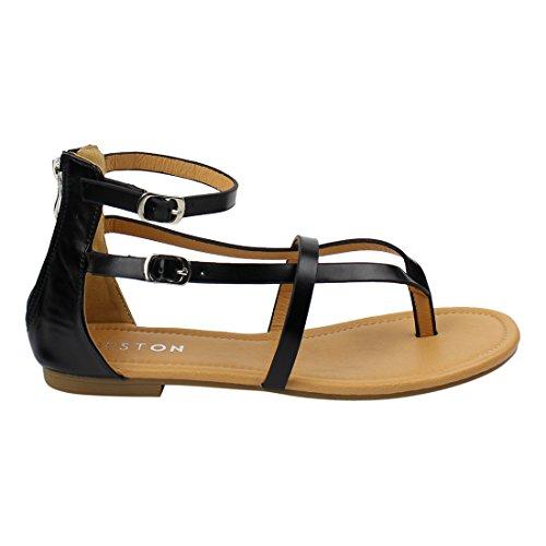 Beston De16 V-strap String Platte Gladiator Sandalen Voor Dames, In Één Maat Small Zwart Uitgevoerd