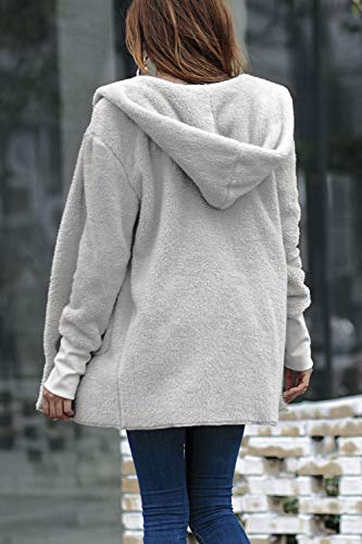 Fuzzy Fuzzy Aperta Aperta Aperta Davanti Esterni Cappotti Incappucciato Indumenti YACUN Grey Giacca Cardigan Le Donne Sono qwxqpBRtZ