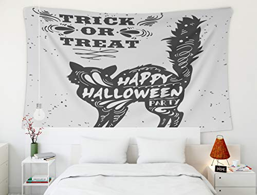 Shorping 60x50Inches Home Art of Cotton Tapestries Hanging Wall Tapestry,for Décor Living Room Dorm Typography Poster Black Cat Quote Trick Treat Happy Halloween Print Bags Greeting Card Invitation]()