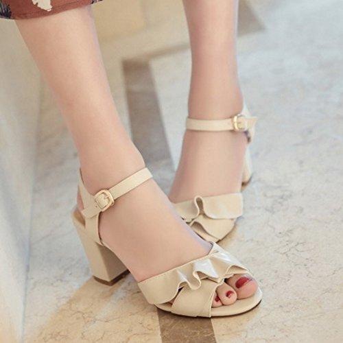 Ruffles Fashion Summer Slingback Toe Women Block High TAOFFEN Heel Peep apricot Sandals Buckle TwqAnI5x4