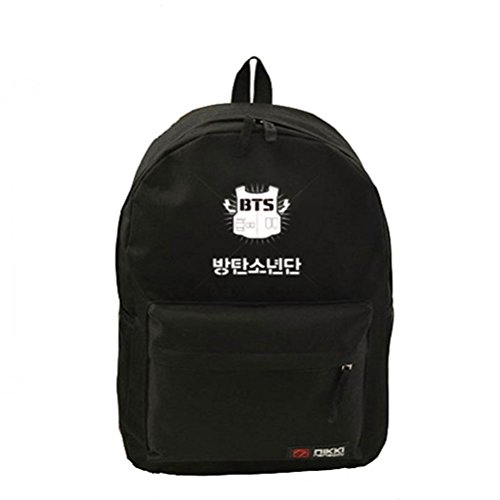 BIBITIME KPOP Black BTS Canvas Backpack Boy Schoolbag Travel Sports Bag Rucksack