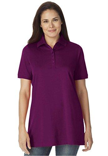 Women's Plus Size Top, Perfect Polo Short-Sleeve T-Shirt (Boysenberry,1X)