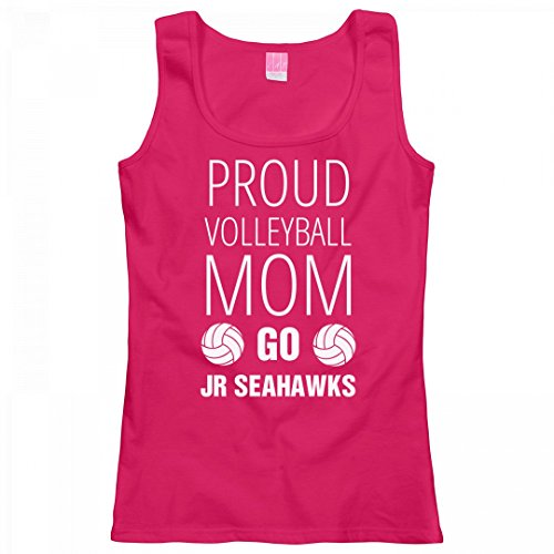 FUNNYSHIRTS.ORG Proud Volleyball Mom Go Jr Seahawks: Ladies LAT Relaxed Fit Scoopneck Tank Top (Mom Jr Proud Raglan)