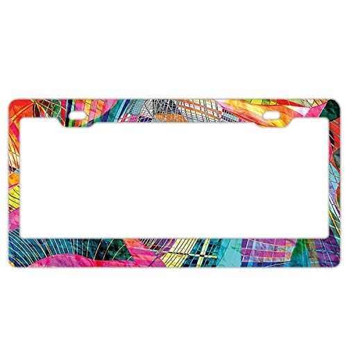 - Gndishangd Simply Customized Personalized Car Plate Tag - Car Plate Covers - Retro Background Graphic Artistic Composition License Plate Frame