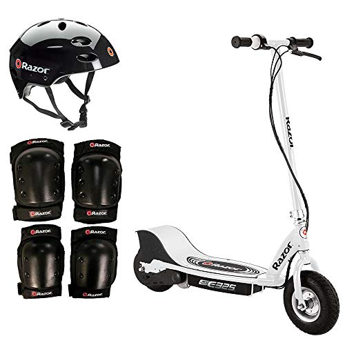 Razor E325 Electric 24V White Scooter + Youth Helmet + Elbow Knee Pad Safety - Razor Pads Knee Electric