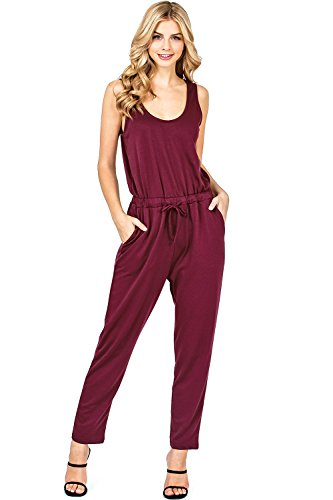 Ambiance Apparel Women's Juniors Terry Cloth Jumper (S, Wine) - Tie 70's Side Bottom