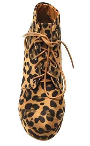 Chunky Leopard (Bella Marie Goldie-21 Women's almond toe platform lace up chunky heel ankle high suede booties Leopard 8)