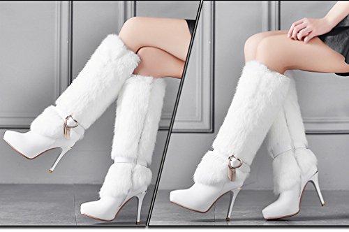 Chaussures Zh Avec Fine Pointue Plate forme Bottes Hautes Imperméable Des Blanc D'hiver ATqHaA1S