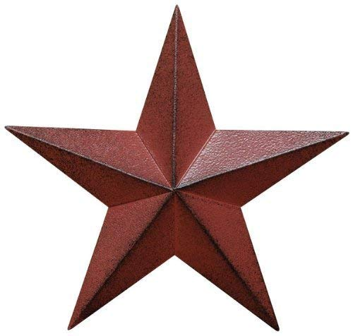 Home Accent Distressed Country Antique Barn Star Wall Decor, 24-Inch, Burgundy