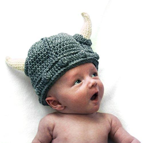 [Crochet Baby Viking Hat] (Ragnar Vikings Costume)