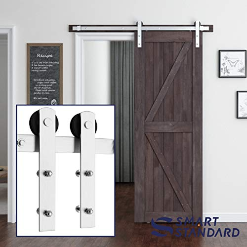 (SMARTSTANDARD 5ft Heavy Duty Nickel Sliding Barn Door Hardware Kit - Smoothly and Quietly -Easy to Install - Includes Step-by-Step Installation Instruction Fit 30