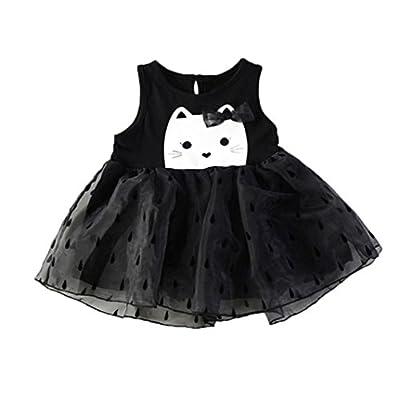 Woaills Hot Sale!1-4 Years Old Baby Girls Sleeveless Dress, Toddler Infant Cartoon Cat Print Yarn Tutu Sundress