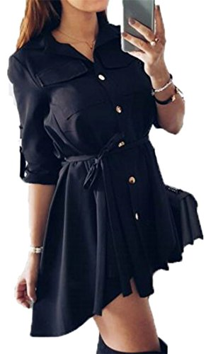 Dress Mini Cromoncent Top Blouse Shirts Button Womens Casual Pleated Belted Black Soft Down vnxvZ1SPqw