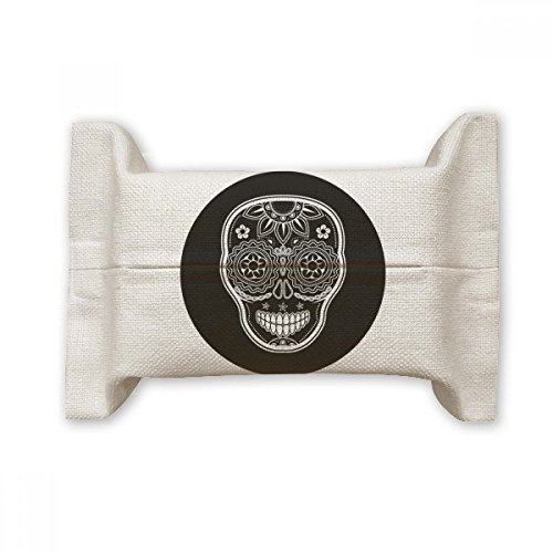 - DIYthinker Black White Mexico Day Of Dead Cotton Linen Tissue Paper Cover Holder Storage Container Gift
