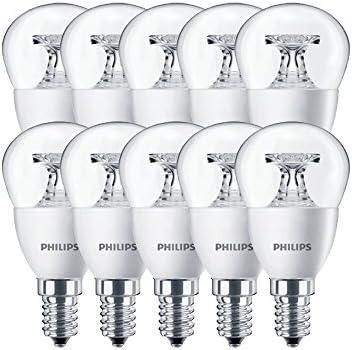 Philips LED-Leuchtmittel, Glas, E14, 4 W, Transparent, 10er Pack, 10 Stück
