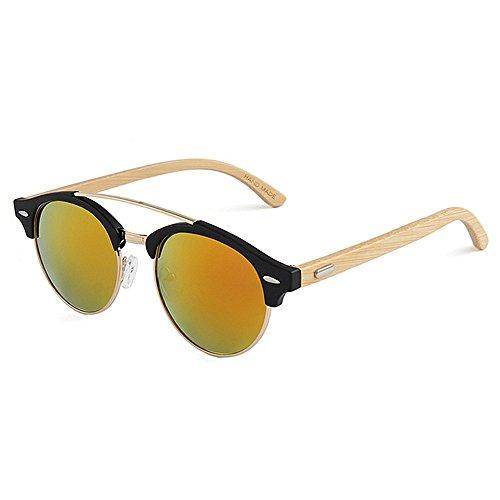 en rétro bambou hommes extérieure pour Couleur forme Rouge Convient pour une Style et Marron soleil femmes de Polyvalent quotid utilisation lentille Handcraft colorée Protection UV lunettes ronde de qB8zP5fw