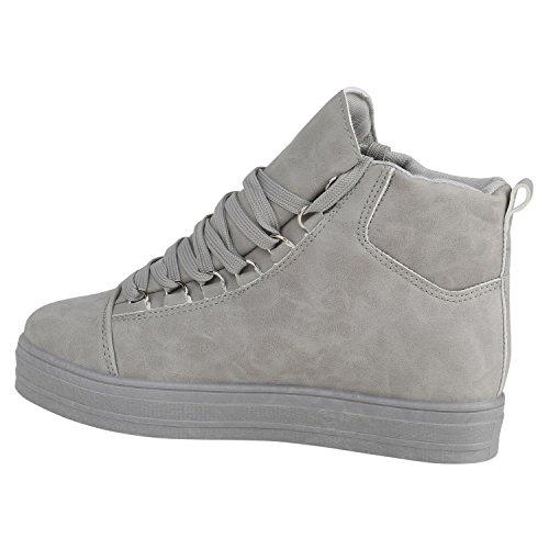 d9991f094283ca Stiefelparadies Damen Sneaker High Schuhe Leder-Optik Sneakers Zipper  Ketten Schnürschuhe Flats Schnallen Flandell Grau ...