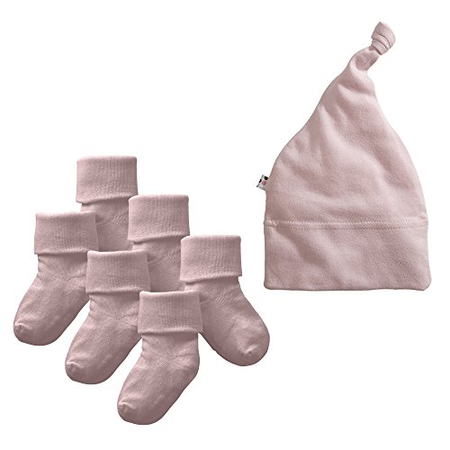 Babysoy Eco Beanie and Socks Set (6-12 Months, Peony)