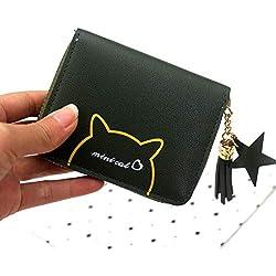 Billetera Carteras Y Monederos para Mujer Monedero del Gato de La Borla de La Cremallera de Las Señoras Embrague Monedero Femenino Titular de La Tarjeta Niñas Mini Bolsas Billetera