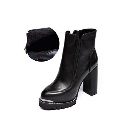 Testa rotonda alla moda in pelle tacco alto alla caviglia stivali impermeabile elastico da donna Martin stivali , 39