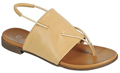 Cambridge Selezionare Donna Open Toe Infradito Slingback Stretch Slip-on Flat Sandal Taupe Pu