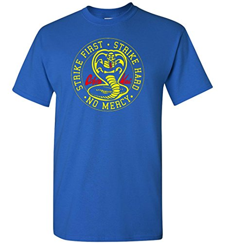 Nurdtyme Cobra Kai Karate Kid T-Shirt Tee Adult Youth Strike First Strike Hard No Mercy (Youth T-shirt Strike)