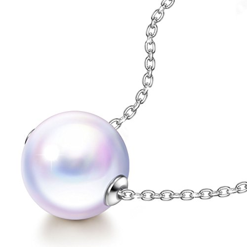 J.NINA Pearl Necklace for Mothers Day for Women 925 Sterling Silver White Swarovski Ball Pendant Fine Jewelry Anniversary Birthday Gifts Her Ladies Teen Girls Wife Girlfriend Sister Mom Mother - Nina Strand Necklace