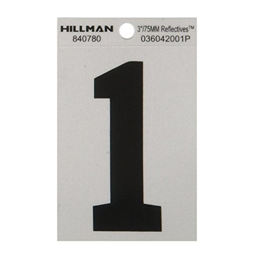 Hillman 840780 3 Inches Number 1 Wide Style Square Cut Self Adhesive Sign, Silver and Black Highly Reflective Flexible Mylar, 3.5x2.5 Inches 1-Sign (Vinyl Reflective 3' Number)