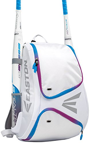 EASTON E110BP Bat & Equipment Backpack Bag | Baseball Softball | 2019 | Blurple | 2 Bat Sleeves | Smart Gear Storage | Vented Shoe Pocket | Rubberized Zipper Pulls - Bags Softball Girls Pink