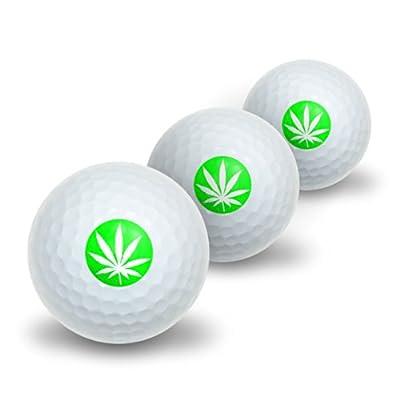 Marijuana Pot Weed Leaf - Green Novelty Golf Balls 3 Pack