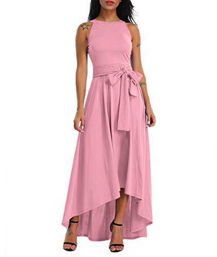 LALAGEN Womens Plus Size Sleeveless Belted Party Maxi Dress with Cardigan Pink