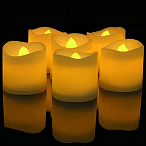 Actpe Tealight Candles with Flickering Flame, 12pcs Flicker LED Tea Lights Wax Dripped Battery Operated Candle Unscented Small Led Flameless Candles with Timer -6hr On-18 Hr Off for Xmas Wedding by Actpe