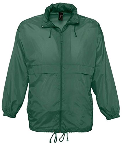 "SOLS Unisex Surf Windbreaker Lightweight Jacket (M (38-40"" Chest)) (Forest Green)"