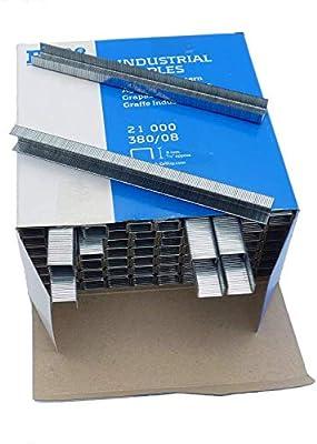 Pistola de grapas neumática para tapicería y bricolaje, serie 380/16, grapas de 6 a 16 mm. (1 pistola + 21000 grapas): Amazon.es: Bricolaje y herramientas