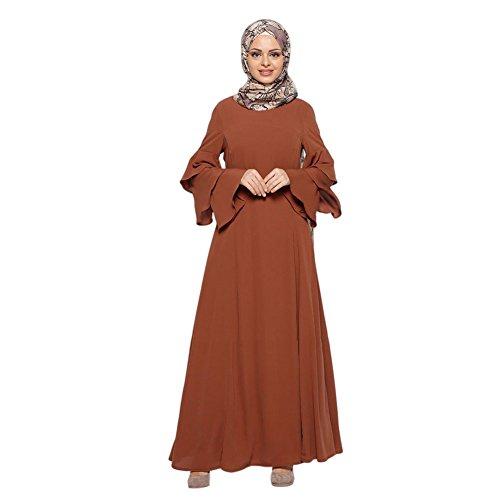 larga islámico Dubai Cóctel de Apparel Mujer East Abaya Middle Boda Túnica Turkey Vestido Kaftán Maxi Marrón Malaysia musulmán Vestido suelta Hzjundasi noche Manga Arab Robe PnTYHIZP