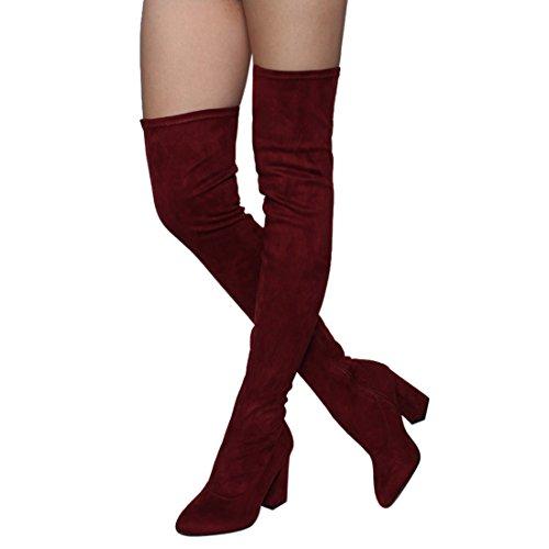 Beston FM29 Damen Stretchy Snug Fit Seitlicher Reißverschluss Oberschenkel Hohe Stiefel Halbe Größe Klein Wein Wildleder