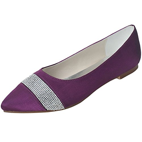 LOSLANDIFEN Womens Satin Pointed Toe Flats Rhinestones Encrusted Low Heel Bridal Wedding Shoes Purple GDUugf