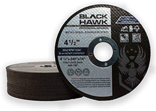 25 Pack Black Hawk 6 x .045 x 7//8 Arbor Metal /& Stainless Steel Cut Off Wheels Ultra Thin Discs CD1501M