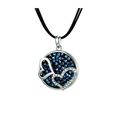 Blue Pearls - Blue Swarovski Crystal Elements Double Hearts Necklace and Rhodium Plated - CRY E265 J Bleu CRY E265 J Bleu