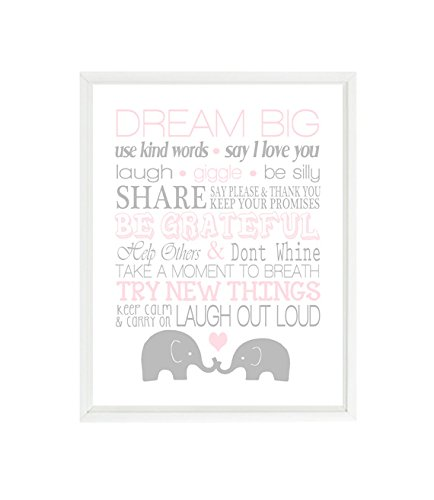 Elephant Nursery Art, Baby Girl Nursery, Rules Art, Light Pink, Gray, Dream Big, Elephant Decor, Nursery Decor, Playroom Rules, Baby Gift