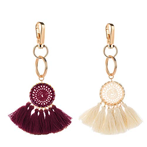 Tassel Pom Pom Key Chain Colorful Boho Charm Key Ring, Fashion Accessories for Women (P1-2pcs)