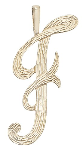 Or 9 carats Pendentif initiales barked Script F